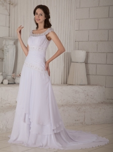 A-line Wedding Dress Princess Scoop Court Train Chiffon