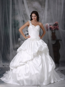 One shoulder Wedding Dress Court Train Taffeta Appliques