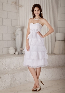 Empire Sweetheart Wedding Dress Knee-length Organza Lace Bow