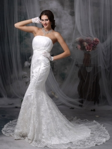 Mermaid Strapless Court Train Lace Ruch Wedding Dress