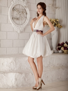 Short Taffeta Open Back Wedding Gown Dress V-neck