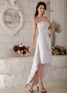 Wedding Dress Strapless High-low Lace Embroidery Beading
