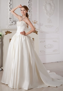 A-line Wedding Dress Sweetheart Court Train Taffeta Beading