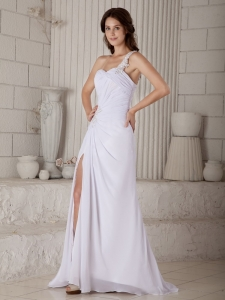 Column Sheath One Shoulder Chiffon Beading Wedding Dress