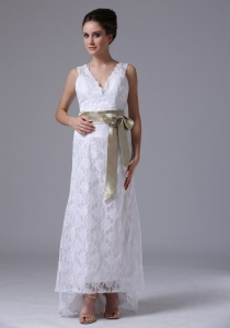 High-low Lace Stylish Custom Wedding Dress Sashes Ribbons