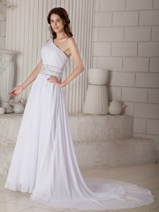 Informal Column Wedding Dress Sheath One Shoulder Beading