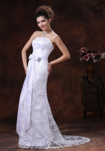 Wedding Gown Lace Over Shirt Strapless With Sash