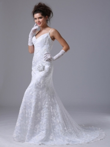 Lace Spaghetti Straps Column Fitted Wedding Dress