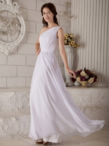 One Shoulder Chiffon Appliques Wedding Dress