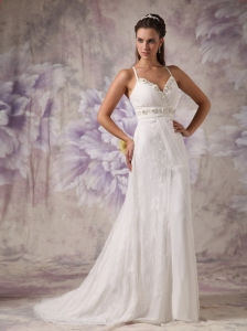 Column Sheath Wedding Dress Spaghetti Straps Lace Beading