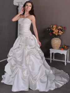 Strapless Court Train Taffeta Pick-ups Wedding Dress