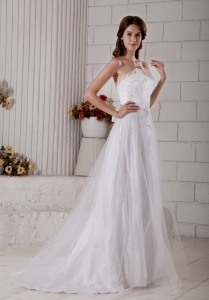 A-line Sweetheart Wedding Dress Brush Train Tulle Appliques