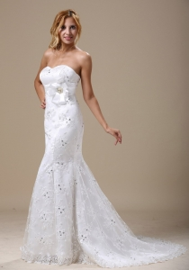 Mermaid Wedding Dress With Sash and Lace Over Skirt