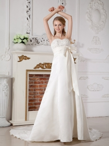 A-line Sweetheart Wedding Dress Court Train Taffeta Beading