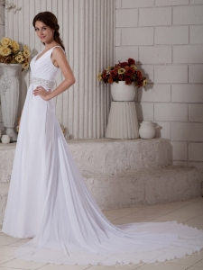 V-neck Court Train Chiffon Ruch and Beading Wedding Dress