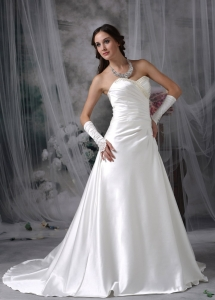 Sweetheart Court Train Satin Beading Wedding Dress