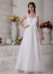 Straps Brush Train Wedding Dress Tulle Floral Ruch