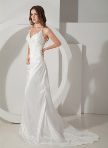 Popular Column Wedding Dress Sheath Halter Brush Taffeta