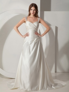 Wide Straps Court Train Taffeta Ruched Wedding Dress