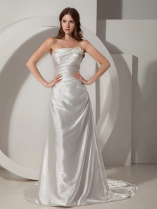 Sheath Strapless Court TrainTaffeta Ruched Wedding Dress