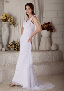 Wedding Dress Column V-neck Brush Train Chiffon Ruch