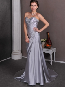 Silver Court Train Elastic Wove Satin Wedding Dress