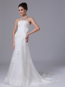Strapless Wedding Dress Lace Column Tulle Court Train