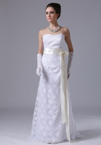 Stylish Strapless Lace Column Sheath Sweep Wedding Dress