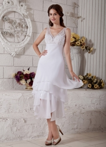 Wedding Gown Chiffon V-neck Tea-length Embroidery