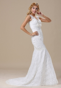 V-neck Sash and Lace Wedding Gown Over Skirt Mermaid