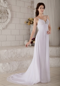 Column Spaghetti Wedding Dress Straps Brush Chiffon Beading