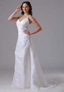Halter Ruched Bodice and Beading Wedding Dress With Brush Train