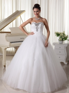 Bridal Gown A-line Sweetheart Beaded Satin and Tulle