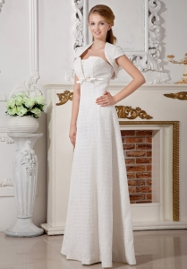A-line Strapless Court Train Lace Wedding Dress