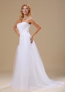 Wedding Gown Appliques Beading Bodice Tulle Strapless