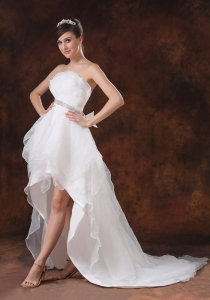 Beaded Waist Wedding Gown Strapless Organza High-low