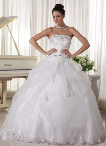 Beaded Over Up Bodice and Pick-up Bridal Gown Strapless Organza