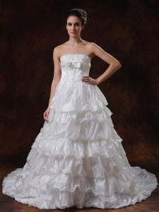 Beaded Strapless Organza Court Train tiered skirt Wedding Dress