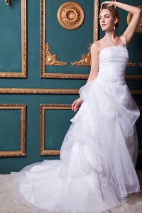 One Shoulder Court Train Organza Appliques Wedding Gown