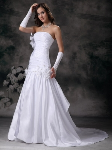 Strapless Court Train Taffeta Hand Made Flowers Wedding Dress