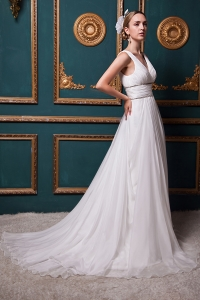 Beautiful V-neck A-line Brush Train Organza Beading Bridal Gown