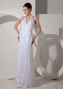 Bridal Gown Column Halter Court Train Lace Ruch