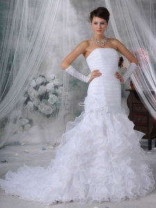 Mermaid Strapless Court Train Organza Handle Flowers Wedding Dress