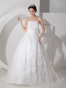Straps Taffeta Court Train Ruched Wedding Dress