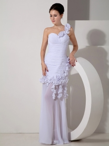 Detachable One Shoulder Hand Made Flowers Wedding Dress