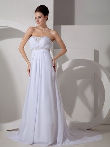 Sweetheart Court Train Chiffon Appliques Wedding Dress
