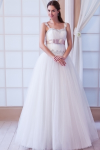 A-line Straps Tulle Beading and Belt Wedding Dress