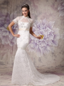 Mermaid High Neck Court Train Lace Wedding Dress