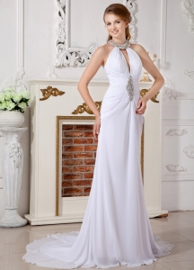 Empire High-neck Court Train Chiffon Beading Wedding Dress