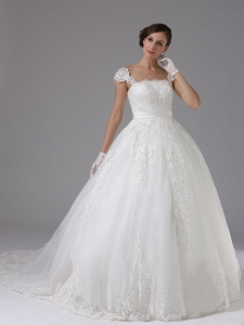 Ball Gown Wedding Dress Lace Sash Cap Sleeves Brush Train